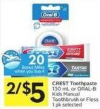 Crest Toothpaste 130 mL or Oral-b Kids Manual Toothbrush or Floss 1 Pk Selected - 20 Air Miles Bonus Miles