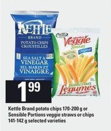 Kettle Brand Potato Chips 170-200 G Or Sensible Portions Veggie Straws Or Chips 141-142 G