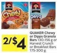 Quaker Chewy or Dipps Granola Bars