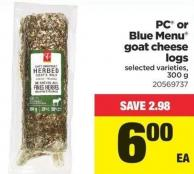 PC Or Blue Menu Goat Cheese Logs - 300 g