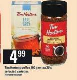 Tim Hortons Coffee 100 g Or Tea 20's