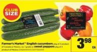 Farmer's Market English Cucumbers - Pkg of 3 Product Of Canada Or Mexico - No. 1 Grade Or Sweet Peppers - Pkg of 4