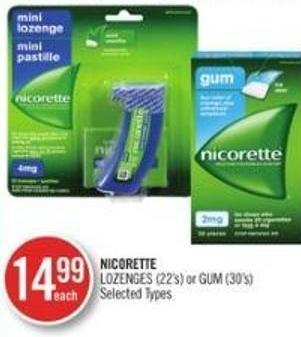 Nicorette Lozenges (22's) Or GUM (30's )