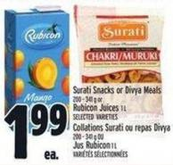 Surati Snacks Or Divya Meals 200 - 341 g Or Rubicon Juices 1 L