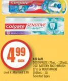 Colgate Toothpaste (75ml - 120ml) - 360˚ Battery Toothbrush (1's) or Mouthwash (946ml - 1l)