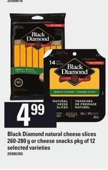 Black Diamond Natural Cheese Slices - 260/280 G Or Cheese Snacks - Pkg Of 12