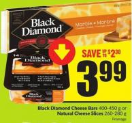 Black Diamond Cheese Bars 400-450 g or Natural Cheese Slices 260-280 g