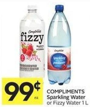 Compliments Sparkling Water or Fizzy Water 1 L