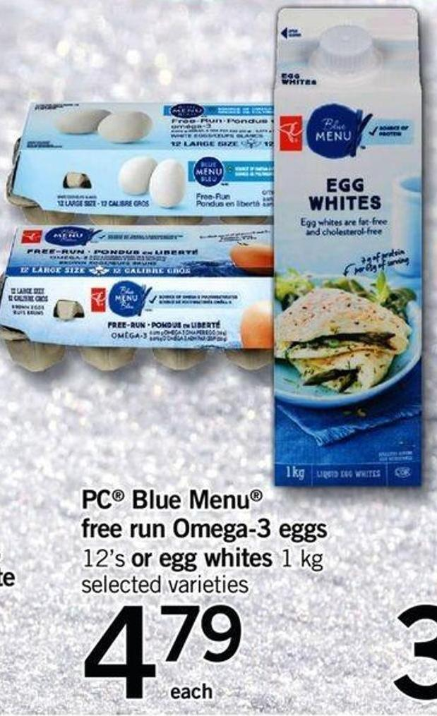 PC Blue Menu Free Run Omega-3 Eggs 12's Or Egg Whites 1 Kg