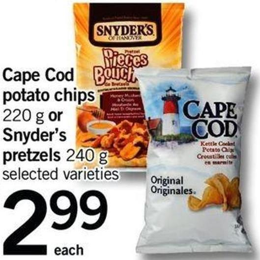 Cape Cod Potato Chips 220 G Or Snyder's Pretzels 240 G