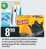 Air Wick Scented Oils 2x20 Mlfreshmatic Or Life Scents 2x175/180 G Or Glad Outdoor Garbage Bags 20-40's