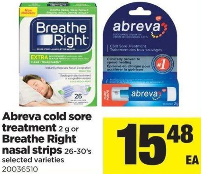 Abreva Cold Sore Treatment - 2 G Or Breathe Right Nasal Strips - 26-30's