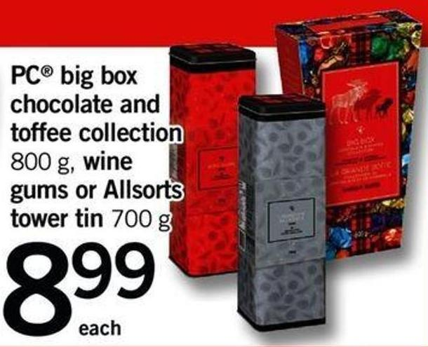 PC Big Box Chocolate And Toffee Collection - 800 G - Wine Gums Or Allsorts Tower Tin - 700 G