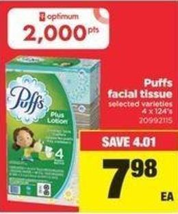 Puffs Facial Tissue - 4 X 124's