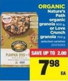 Organic Nature's Path Organic Granola - 800 G - Or Love Crunch Granola - 700 G
