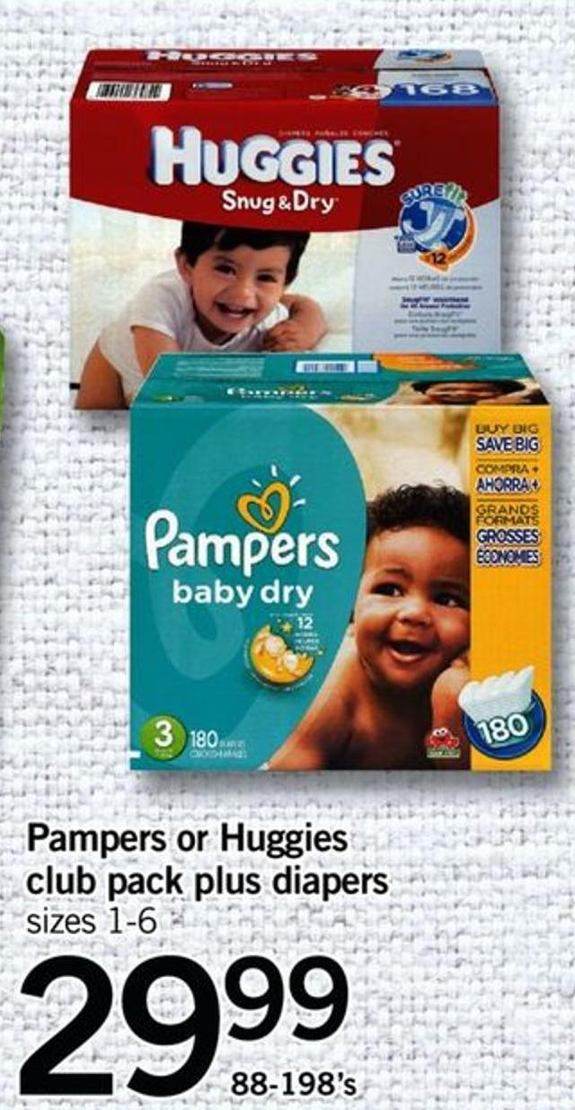 Pampers Or Huggies Club Pack Plus Diapers - Sizes 1-6 - 88-198's