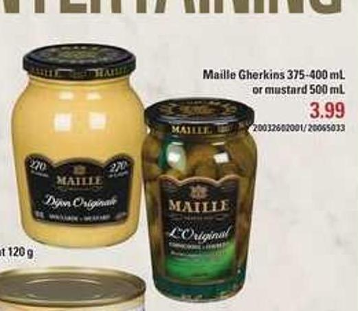 Maille Gherkins 375-400 mL Or Mustard 500 mL