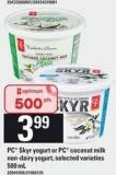 PC Skyr Yogurt Or PC Coconut Milk Non-dairy Yogurt - 500 mL