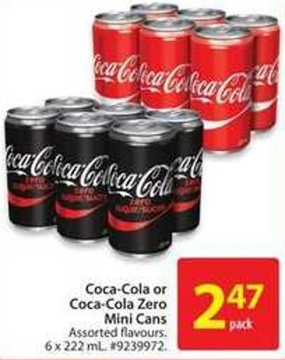 Coca-cola or Coca-cola Zero Mini Cans