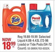 Selected Liquid 4.08-4.43l (72-96 Loads) or Tide Pods (54-72 Count)