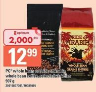 PC Whole Bean Or Pride Of Arabia Whole Bean Coffee - 907 g
