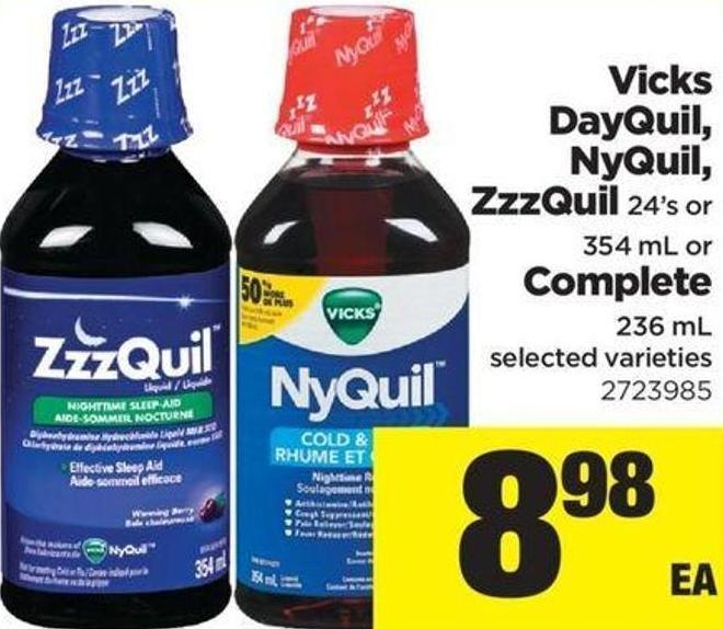Vicks Dayquil - Nyquil - Zzzquil - 24's Or 354 Ml Or Complete - 236 Ml