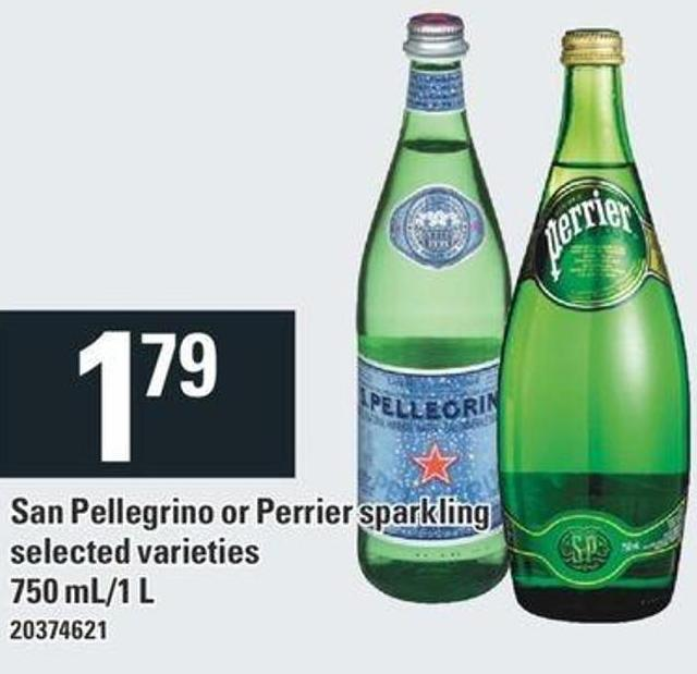 San Pellegrino Or Perrier Sparkling - 750 Ml/1 L