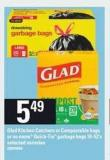 Glad Kitchen Catchers Or Compostable Bags Or No Name Quick-tie Garbage Bags - 10-52's