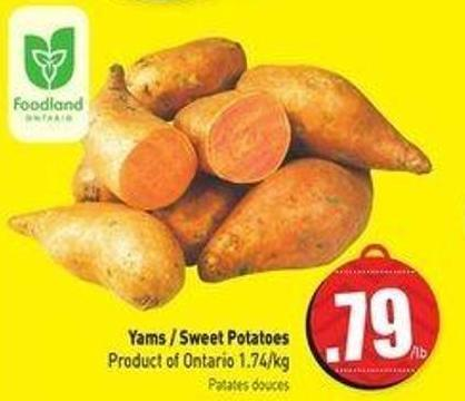 Yams / Sweet Potatoes Product of Ontario 1.74/kg