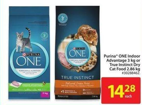 Purina One Indoor Advantage 3 Kg or True Instinct Dry Cat Food 2.86 Kg
