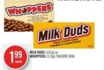 Hershey Milk Duds (141g) or Whoppers (113g) Theatre Box