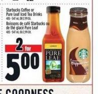 Starbucks Coffee or Pure Leaf Iced Tea Drinks
