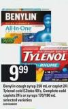 Benylin Cough Syrup - 250 Ml Or Caplet - 24's Tylenol Cold Eztabs - 40's Complete Cold Caplets - 24's Or Syrups - 170/180 Ml
