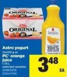 Astro Yogurt - 12x100 g or PC Orange Juice - 1.75 L