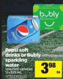 Pepsi Soft Drinks Or Bubly Sparkling Water - 12x355 mL