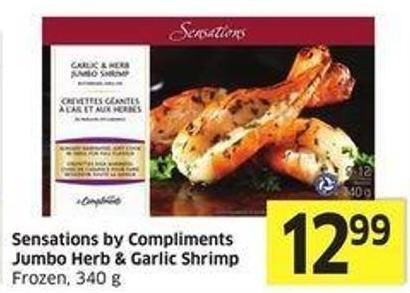 Sensations By Compliments Jumbo Herb & Garlic Shrimp Frozen - 340 g