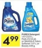 Purex Detergent 1.47-2.03 L - Pods 23-54 Pk or Snuggle Fabric Softener 1.47 L or Boosts 439 g