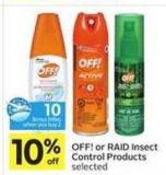 Off! or Raid Insect Control Products - 10 Air Miles Bonus Miles