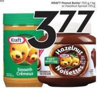 Kraft Peanut Butter 750 G-1 Kg or Hazelnut Spread 725g