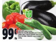 Eggplants - Green Or Yellow Zucchini Product Of Ontario - Jumbo Sweet Green Peppers Product Of Canada Or Field Or Roma Tomatoes