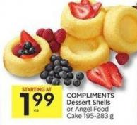 Compliments Dessert Shells or Angel Food Cake 195-283 g