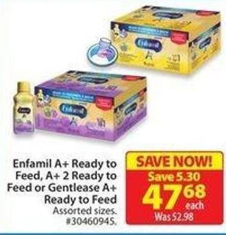 Enfamil A+ Ready To Feed - A+ 2 Ready To Feed or Gentlease A+ Ready To Feed