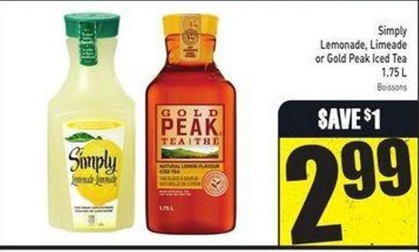 Simply Lemonade - Limeade or Gold Peak Iced Tea 1.75 L
