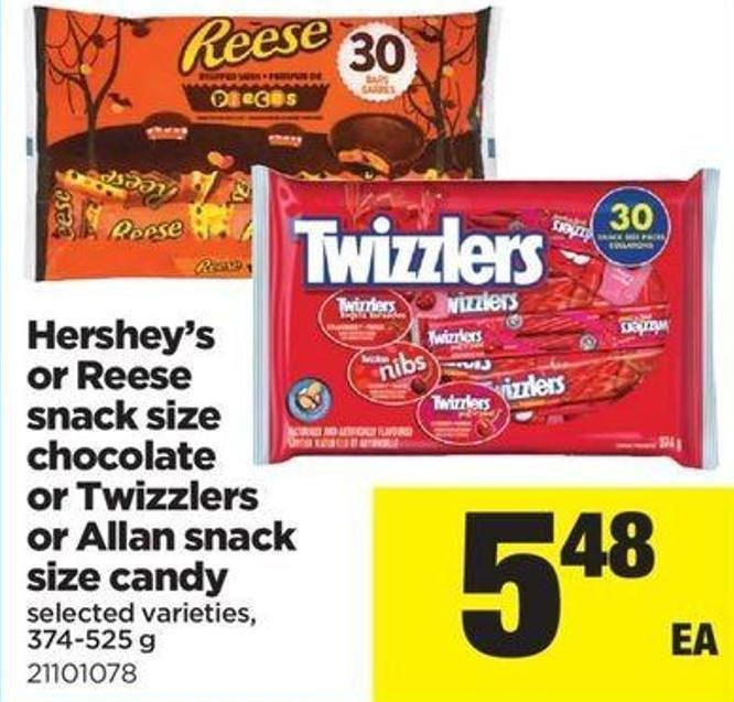 Hershey's Or Reese Snack Size Chocolate Or Twizzlers Or Allan Snack Size Candy - 374-525 G