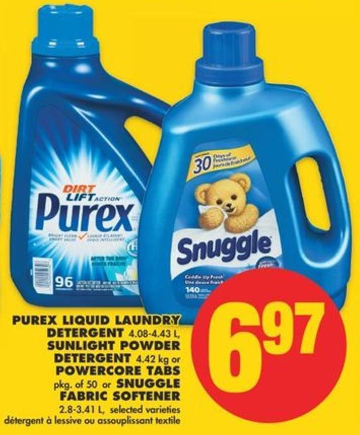 Purex Liquid Laundry Detergent 4.08-4.43 L - Sunlight Powder Detergent 4.42 Kg Or Powercore Tabs Pkg Of 50 Or Snuggle Fabric Softener 2.8-3.41 L