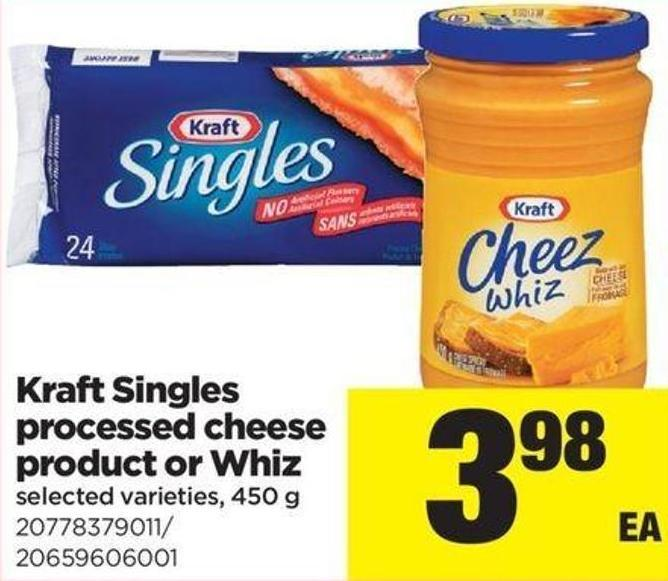 Kraft Singles Processed Cheese Product Or Whiz - 450 g