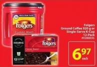 Folgers Ground Coffee 920 g or Single-serve K-cup 12-pack