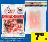 Anchor's Bay Cooked Shrimp With Sauce - 41/50 Count Per Lb - 567 G Or Go Basa Fillet - 1.13 Kg