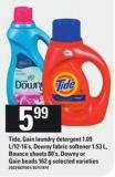 Tide - Gain Laundry Detergent 1.09 L/12-16's - Downy Fabric Softener 1.53 L - Bounce Sheets 80's - Downy Or Gain Beads 162 G