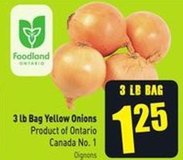 3 Lb Bag Yellow Onions Product of Ontario Canada No. 1